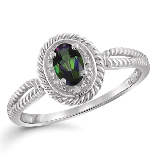 Jewelonfire Sterling Silver 1/2ct TW Mystic Topaz and White Diamond Accent Ring 24057290