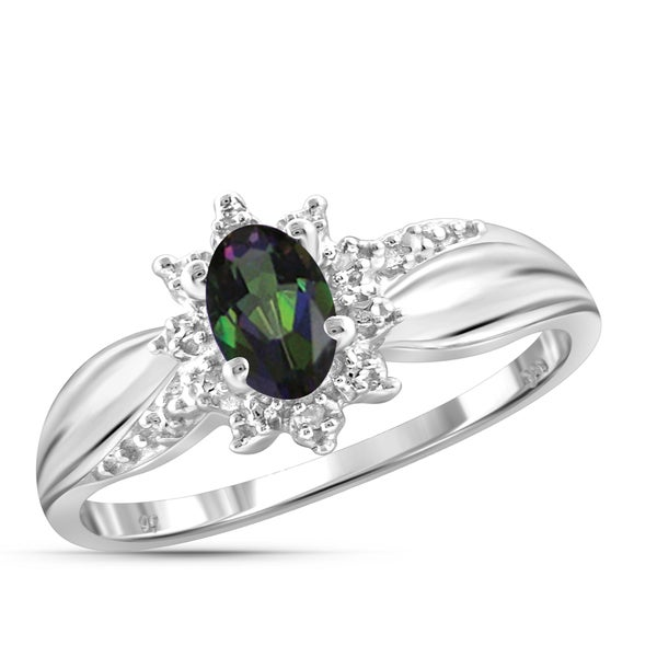Jewelonfire Sterling Silver 1/2ct TW Mystic Topaz and White Diamond Accent Ring 24057338