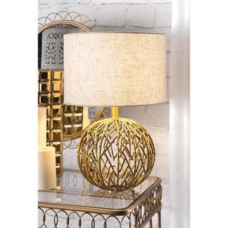 nuLOOM 20-inch Modern Gold Lattice Ball Linen Shade Table Lamp