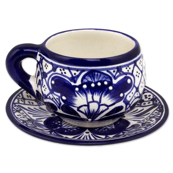 Handmade Set For 4 Ceramic Cups and Saucers, 'Blue Guanajuato' (Mexico) 24069111
