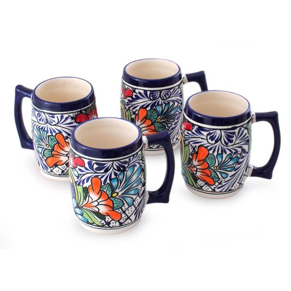 Handmade Set of 4 Ceramic Beer Mugs, 'Floral Fiesta' (Mexico) 24069124