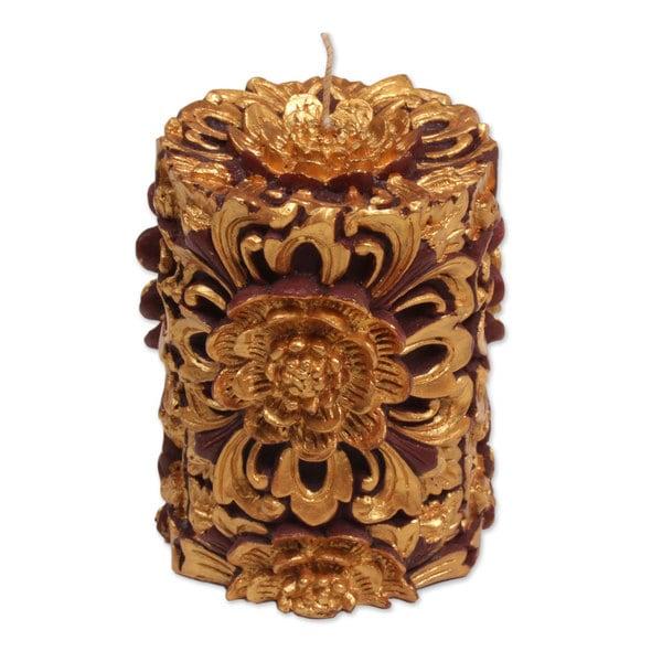 Handmade 3-inch Pillar Candle,'Floral Pillar' (Indonesia) 24069127