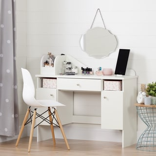 South Shore Vito Pure White Makeup Desk with Drawer