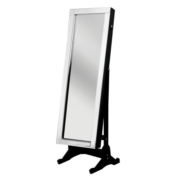 Chic Home Daze Jewelry Armoire Cheval Mirror, Full-length, Elegant Black 24071418
