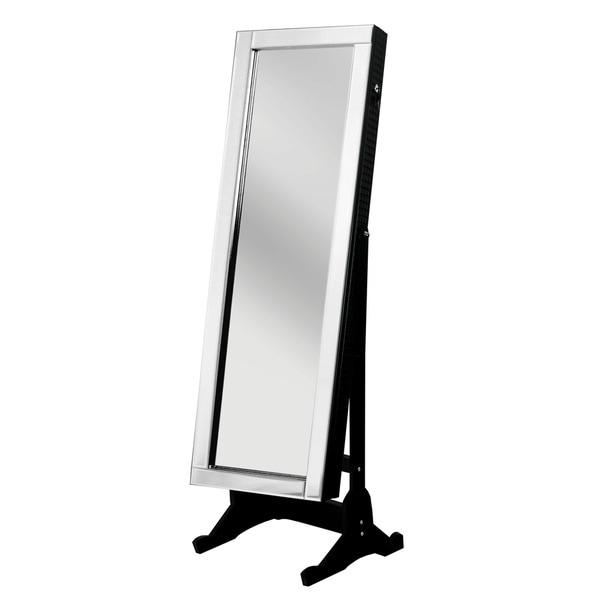 Chic Home Daze Jewelry Armoire Cheval Mirror, Full-length, Elegant Black 24071418