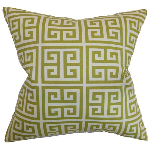 """Paros Greek Key 22"""" x 22"""" Down Feather Throw Pillow Village Green Natural 24072488"""