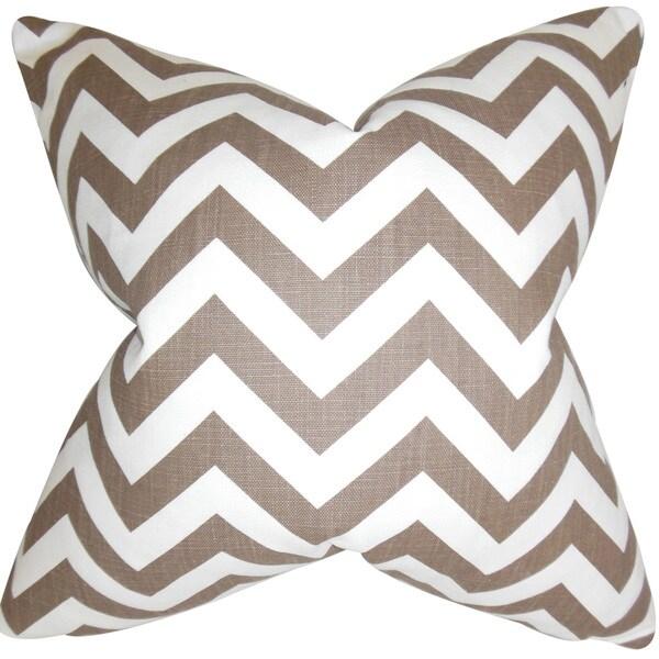 """Xayabury Zigzag 22"""" x 22"""" Down Feather Throw Pillow Village Brown 24072596"""