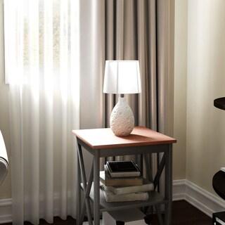 Porch & Den Martinson White Textured Ceramic Oval Table Lamp