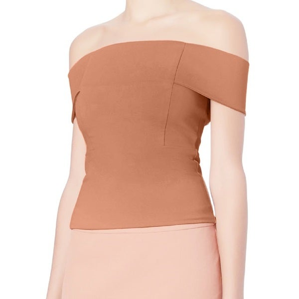 Michelle Mason Women's Nude Off-shoulder Top 24083798
