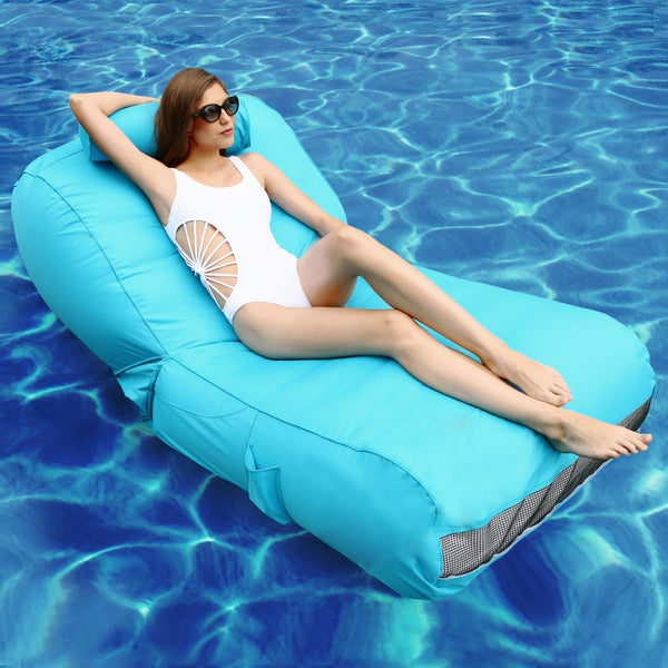 OVE Decors Aqua sunlounger - Inflatable Pool Float (Blue) 24083962