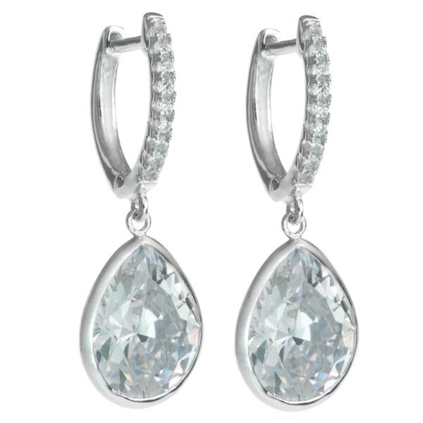 Queenberry Sterling Silver Teardrop Clear CZ Crystal Charm Hoop Saddleback Dangle Earring 24088373