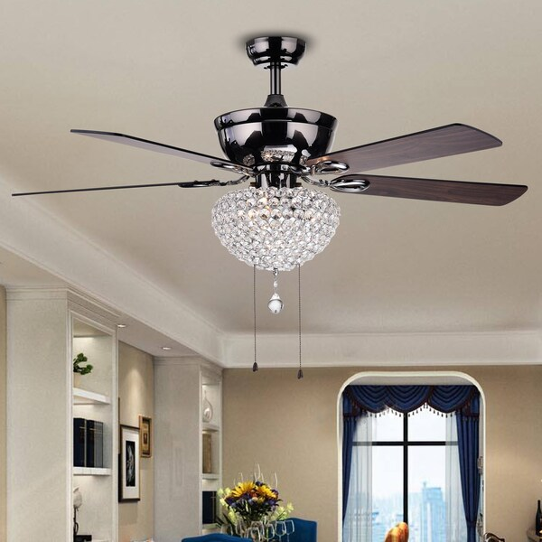 Taliko 3-light Crystal Basket 5-blade Wood with Black Metal Housing 52-inch Ceiling Fan 24094501