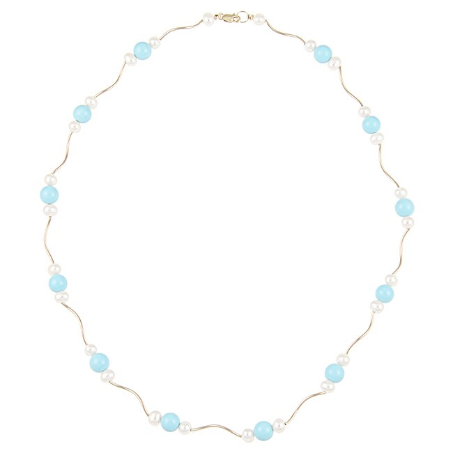 DaVonna 14k Gold White Cultured Pearl and Turquoise 18-inch Necklace (4-4.5 mm)