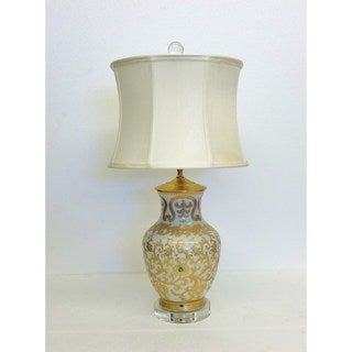 Gold Scrolls Round Vase Table Lamp with Crystal Base