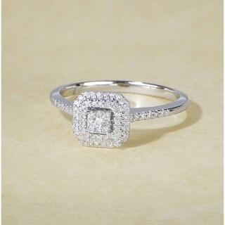 De Couer IGI Certified 1/4ct TDW Diamond Double Halo Engagement Ring - White H-I