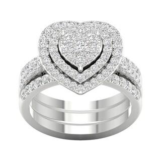 De Couer 1ct TDW Heart Shaped Cluster Halo Bridal Set
