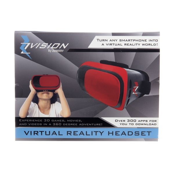 Zvision Virtual Reality Headset, Turn Any Smartphone Into A Virtual Reality World.  Red 24129017