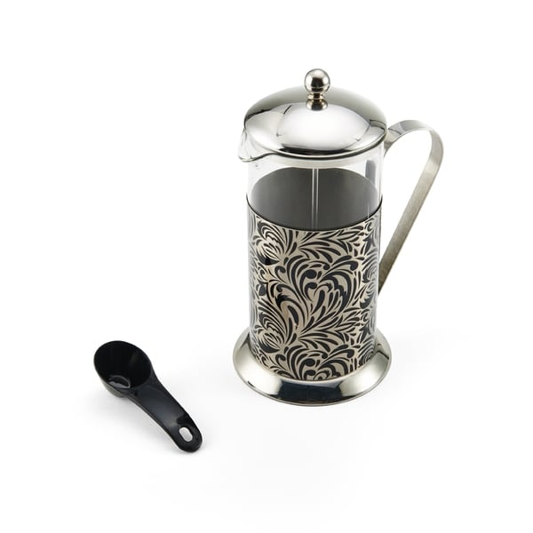 La Cafetiere Black Stainless Steel Floral 8-cup French Press Pot and Black Glass Floral Decal Beaker 24136475