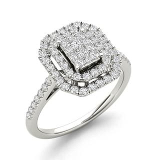 De Couer IGI Certified 1/2ct TDW Diamond Cluster Halo Engagement Ring