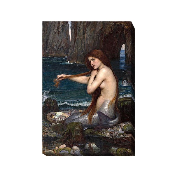 A Mermaid by John Waterhouse Gallery-Wrapped Canvas Giclee Art 24153345