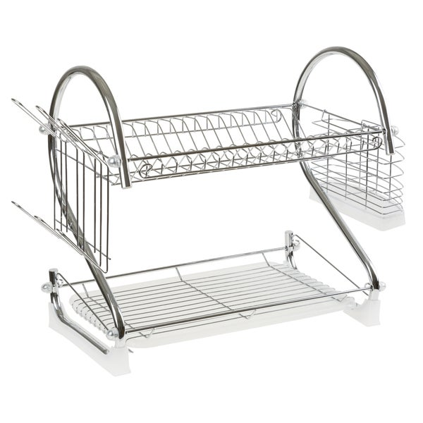 Chrome Dish Drying Rack  2 tiered with Cup and Utensil holders by Chef Buddy 24162559