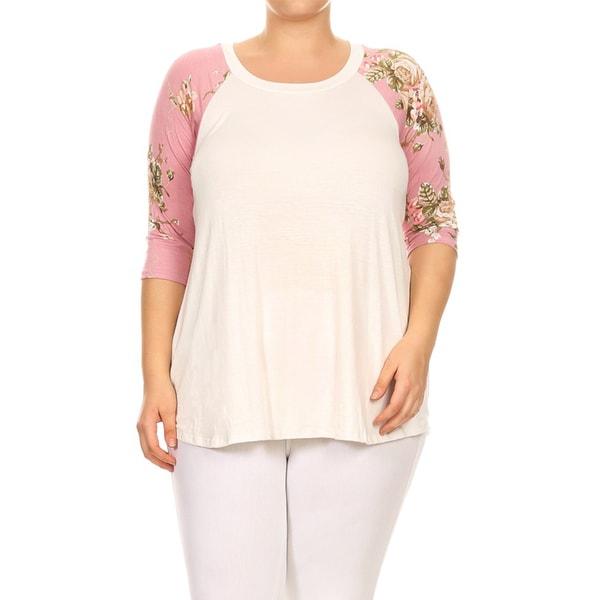 Women's White Rayon/Spandex Floral Raglan-sleeved Tunic 24162951