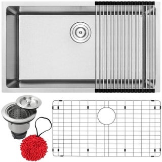 "31 1/4"" Ticor PLZ-25 Arlo Series 18-Gauge Stainless Steel Undermount Single Basin Kitchen Sink with Accessories"