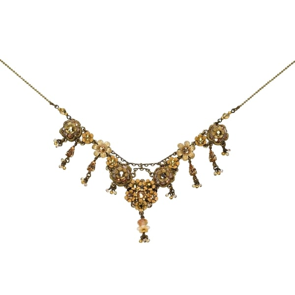 Orly Zeelon Brass, Beige, Gold Crystal and Beads Floral Necklace 24174460