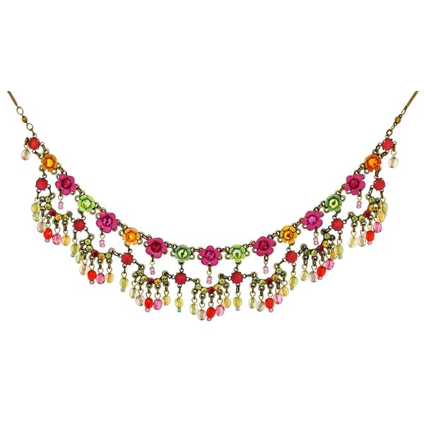 Orly Zeelon Brass, Green, Red, Orange Crystal Floral Collar Necklace 24174473