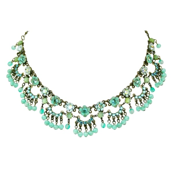 Orly Zeelon Brass, Blue, Turquoise Crystal Floral Necklace with Beads 24174474