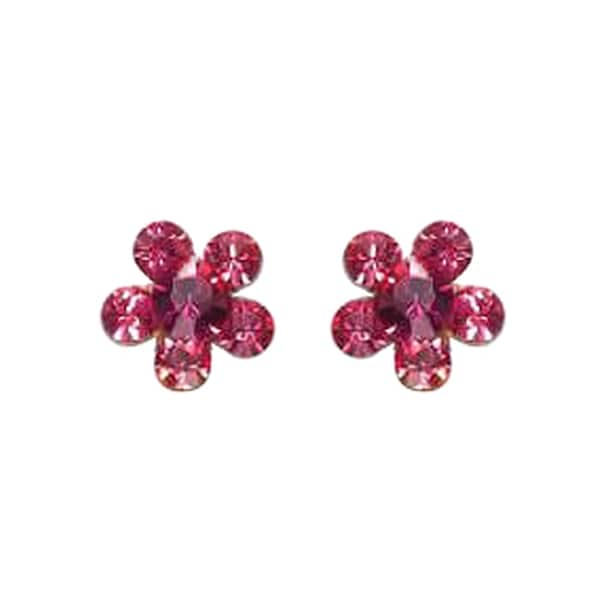 Orly Zeelon Brass, Pink Crystal Flower Shaped Stud Earrings 24174480