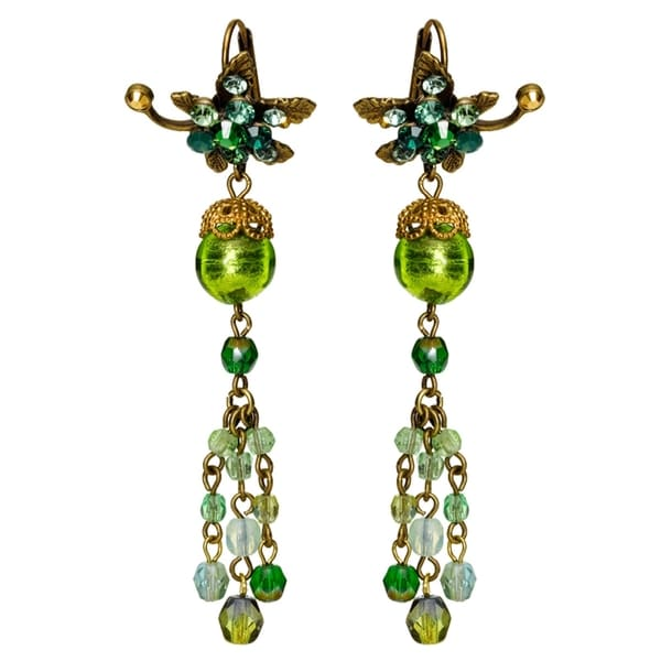 Orly Zeelon Brass, Green Crystal Earrings with Suspended Beaded Chains 24174481