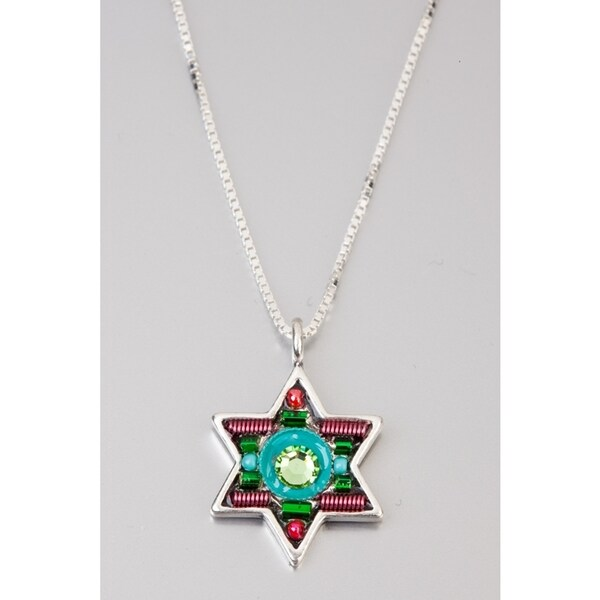 Judaica Star Of David Pendant by Adaya Set with Green, Turquoise and Red Beads, Swarovski Crystals, Hand Painted Enamel  Accents 24174649