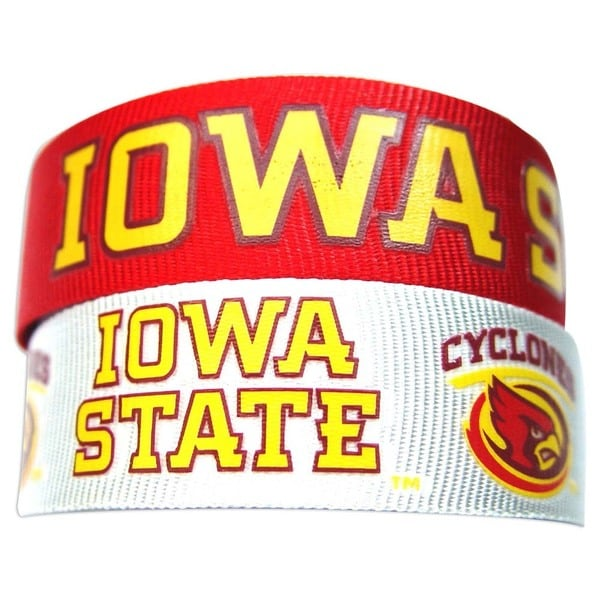 Aminco NCAA Iowa State Cyclones Slap Snap Wrap Wrist Band (Set of 2) 24183331