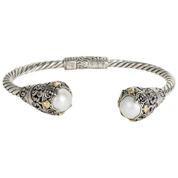 Robert Manse Sterling-silver and 18k Yellow Gold White Mabe Pearl Leaf Accents Cuff 24183334