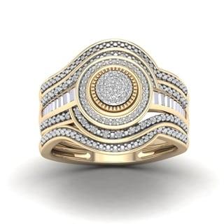 De Couer 1/5ct TDW Diamond Cluster Halo Bridal Set