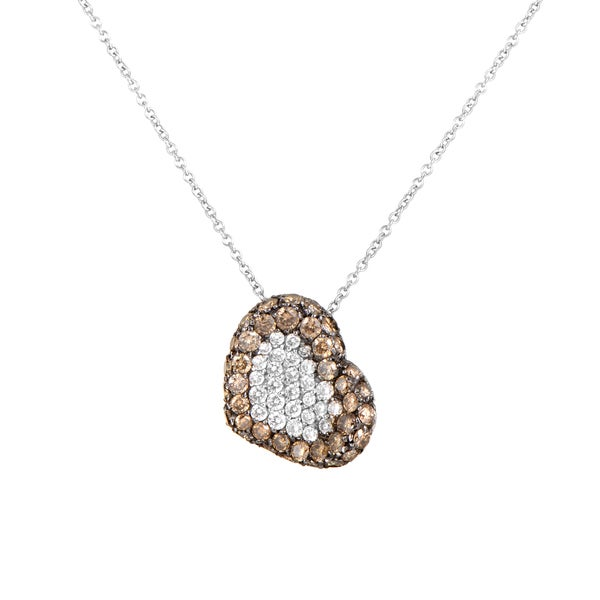 Pasquale Bruni 18k White Gold Brown and White Diamond Heart Pave Pendant Necklace 24199413