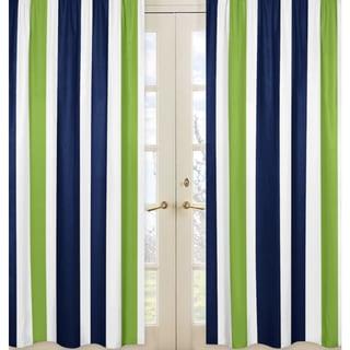 Sweet Jojo Designs Striped Navy Blue/Lime Green/ White Window Curtain Panel Pair