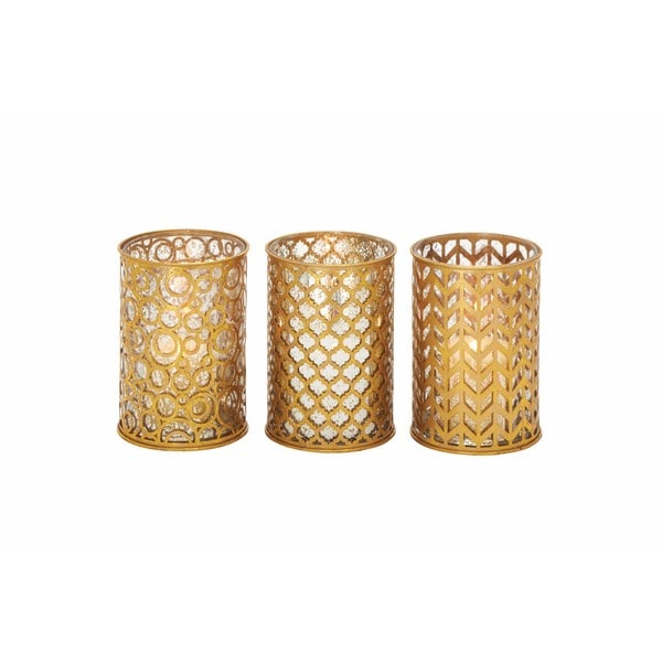 Silver Orchid Grant Goldtone Metal and Glass Candleholder (Pack of 3) 24201280