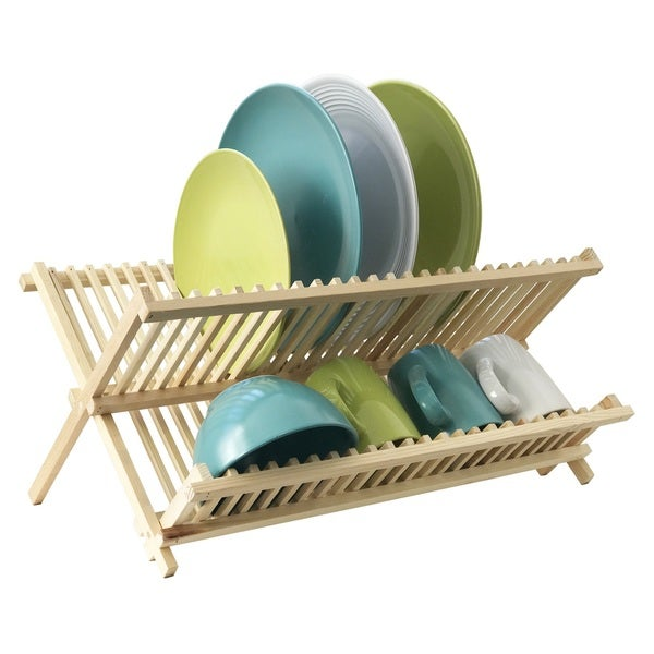 Large Wooden Dish Drying Stand with Cup Rack 24202256