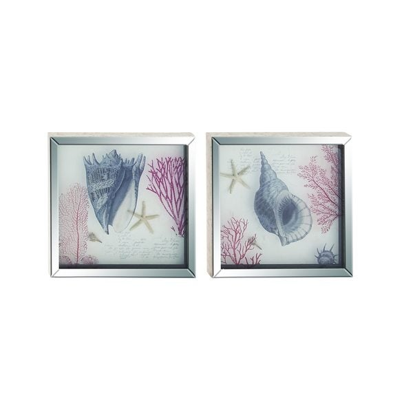 'Coastal Living' Polystone Mirror Frame Art (Set of 2) 24203308