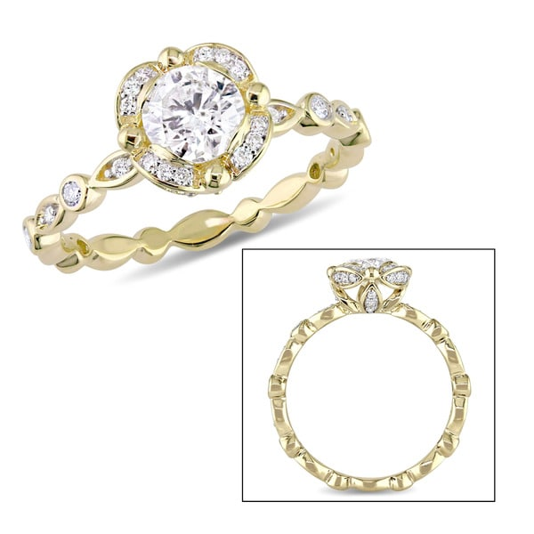 Miadora Signature Collection 14k Yellow Gold 1ct TDW Diamond Flower Infinity Band Engagement Ring 24220613