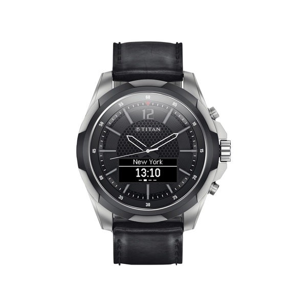 Titan JUXT Black Leather and Titanium Smartwatch 24221450