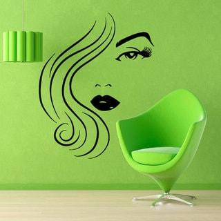 Girl Model Beauty Salon Wall Decor Home Decor Vinyl Art Wall Decor Make Up Decals Cosmetics Sticker Decal size 22x26 Color Black