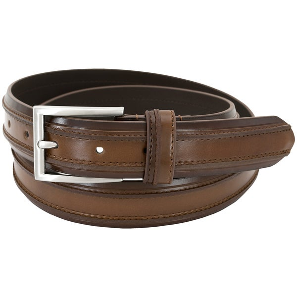 Florsheim Men's Cognac Leather 32mm Double Ribbed Design Belt 24230213
