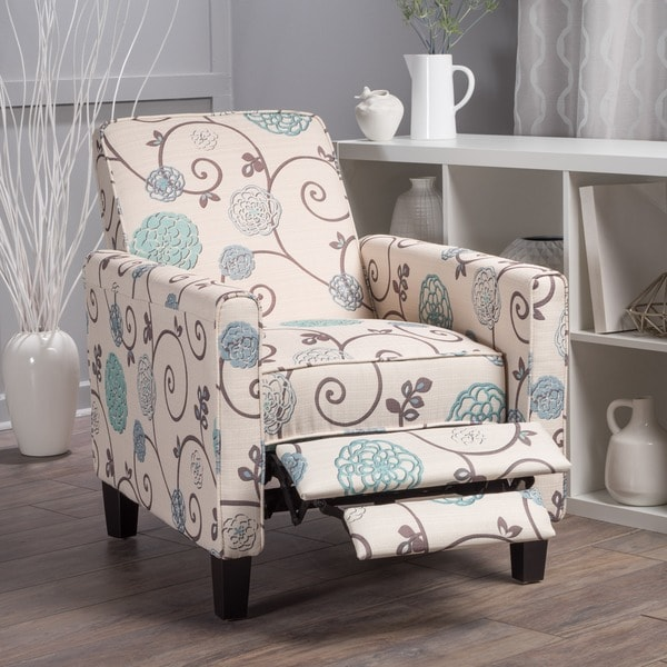 Darvis Floral Fabric Recliner Club Chair by Christopher Knight Home 24230679