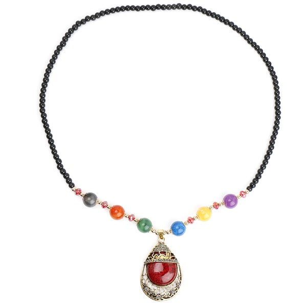 Liliana Bella Oxidised Gold Plated Fashion Necklace with Maroon Murano and Multicolour Glass Beads 24245715