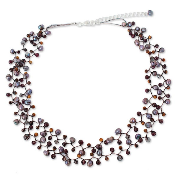 Handmade Cultured Pearl and Garnet Beaded Necklace, 'Stormy Weather' (Thailand) 24248624