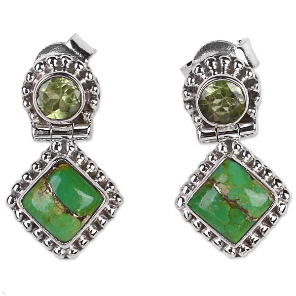 Handmade Peridot Drop Earrings, 'Green Enigma' (India) 24249829