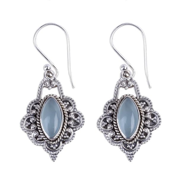 Handmade Chalcedony Dangle Earrings, 'Shimmering Beauty' (India) 24249834